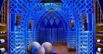 Wine Cellar Design With Blue Lighting