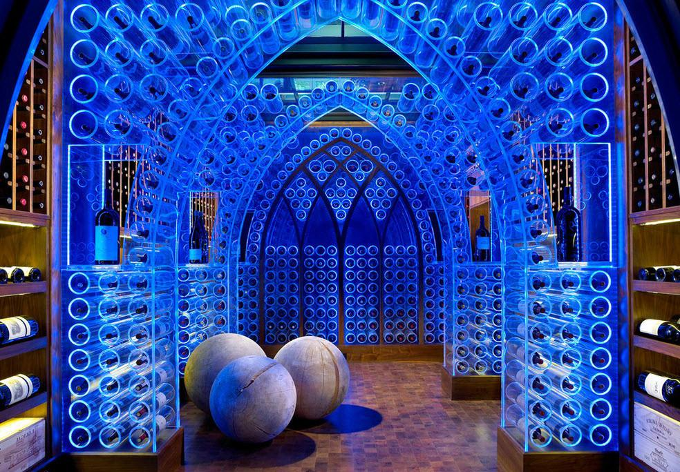 Wine Cellar Design With Blue Lighting