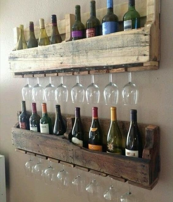 rustic pallet shelves for wine and glasses