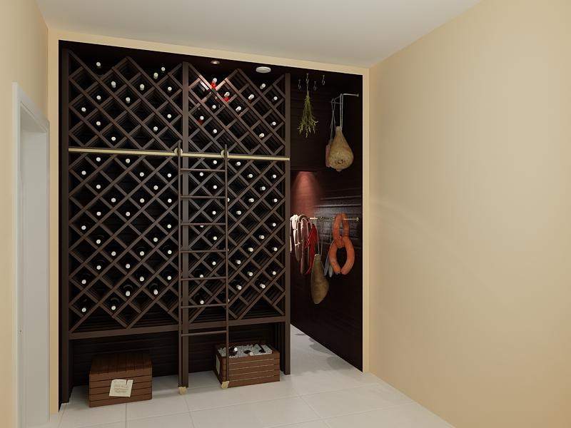 wine rack with cells for each bottle