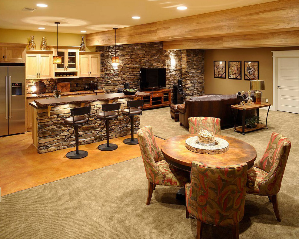 Bar Designs With Dining For Man Cave
