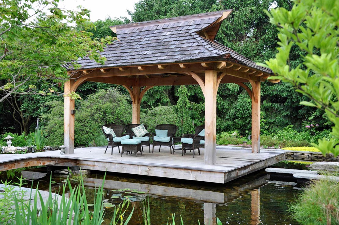 A wooden arbor will perfectly fit into your landscape design