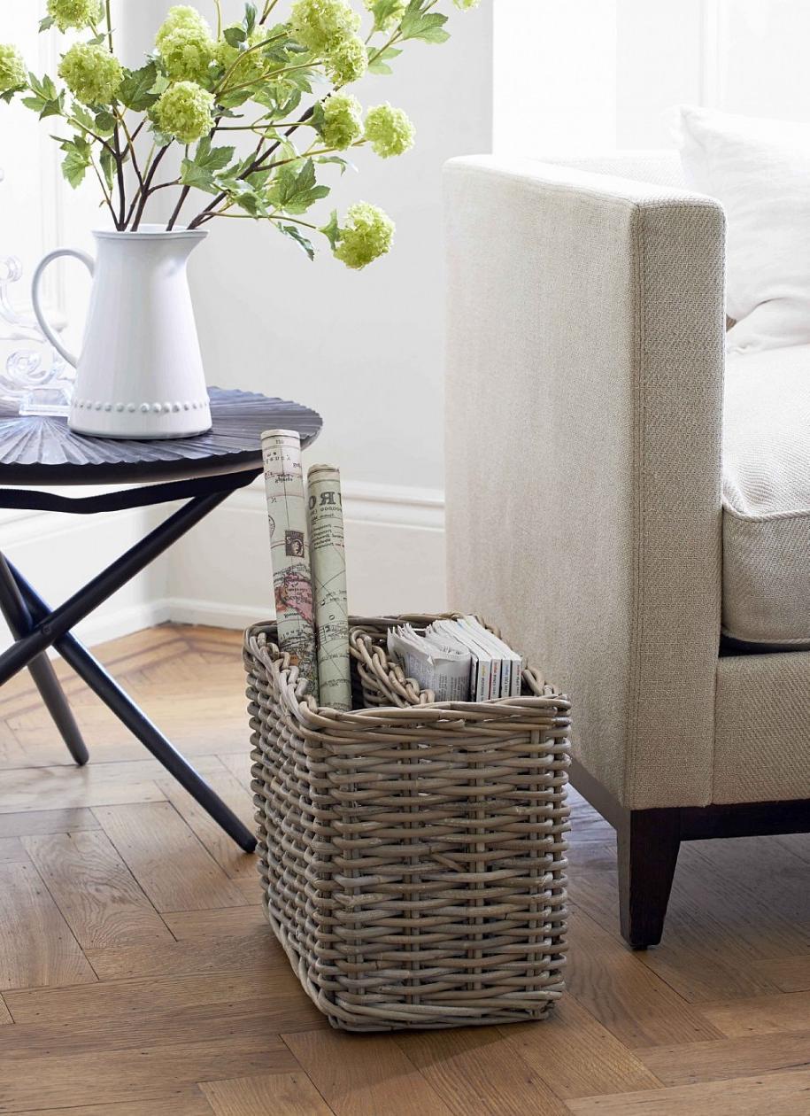 Awesome Rustic Wicker Magazine Basket Design Ideas