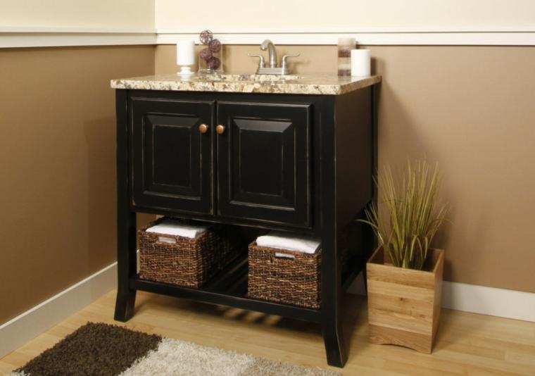 Baskets options under the sink in the modern bathroom