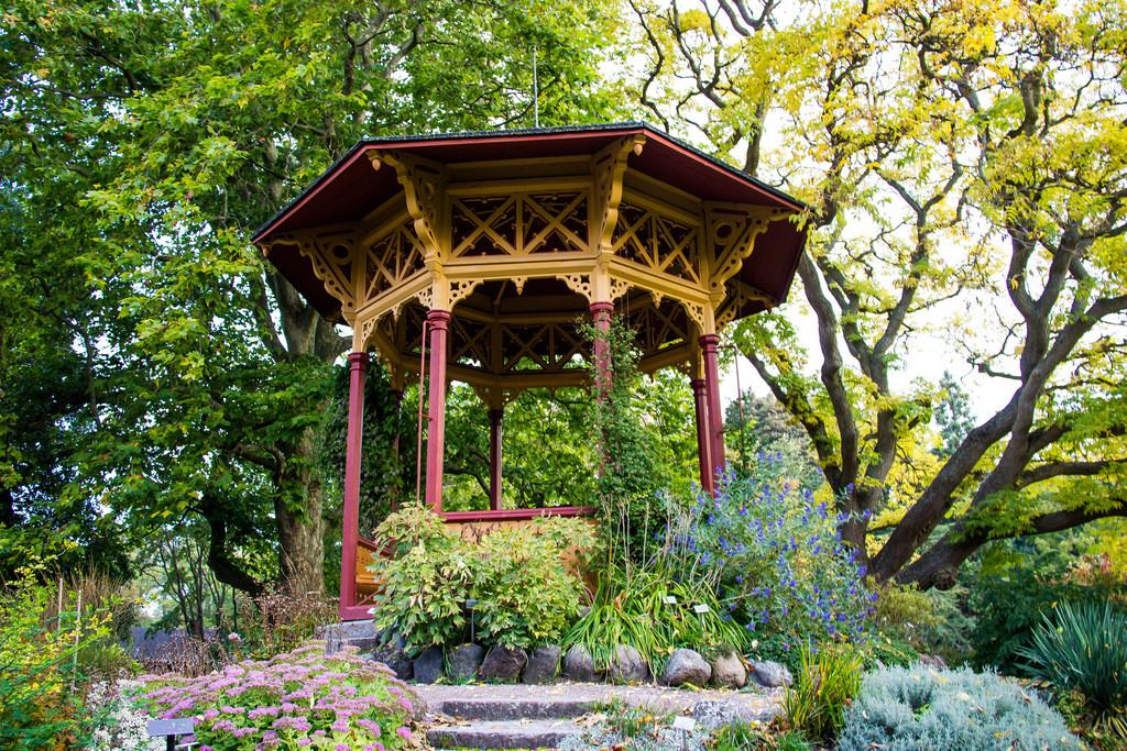 Beautiful open gazebo in oriental style