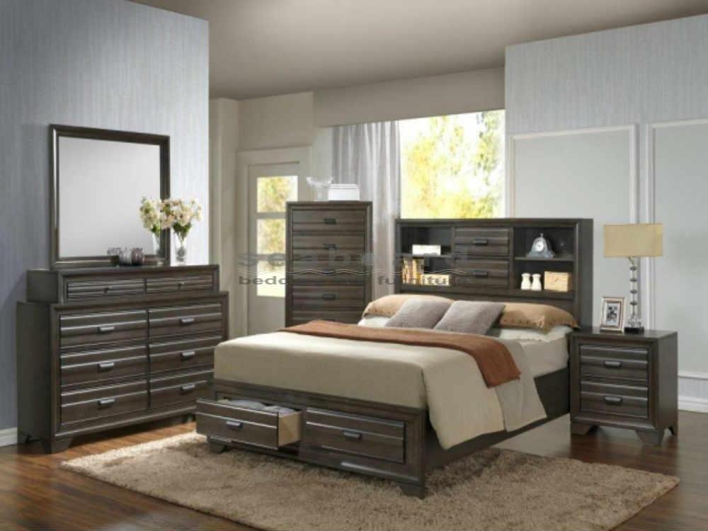 Brown Antique Grey Bedroom With Storage