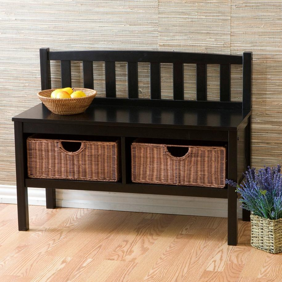 Charming Black Table with Wicker Basket Storage Design Ideas