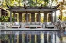 Gazebo with a harmonious combination of stone and wood