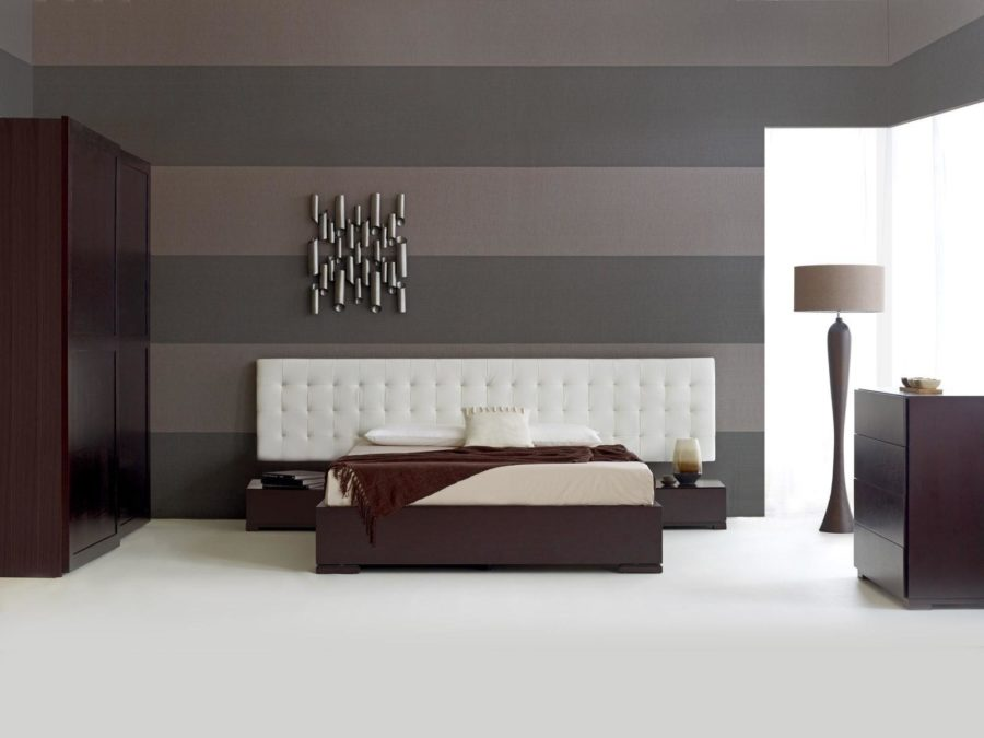 Grey Color Combination With Dark Brown Furniture
