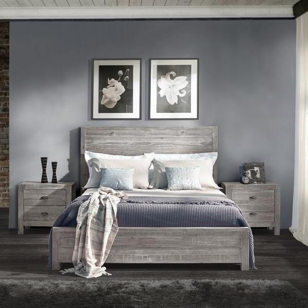 Grey Dark Wood Bedroom Design
