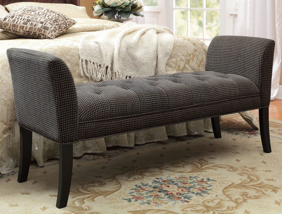 Grey Fabric Uphostery Tufted Bedroom Benches