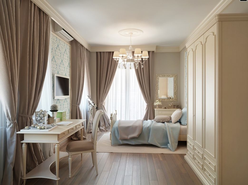 Neutral Bedroom Curtains.