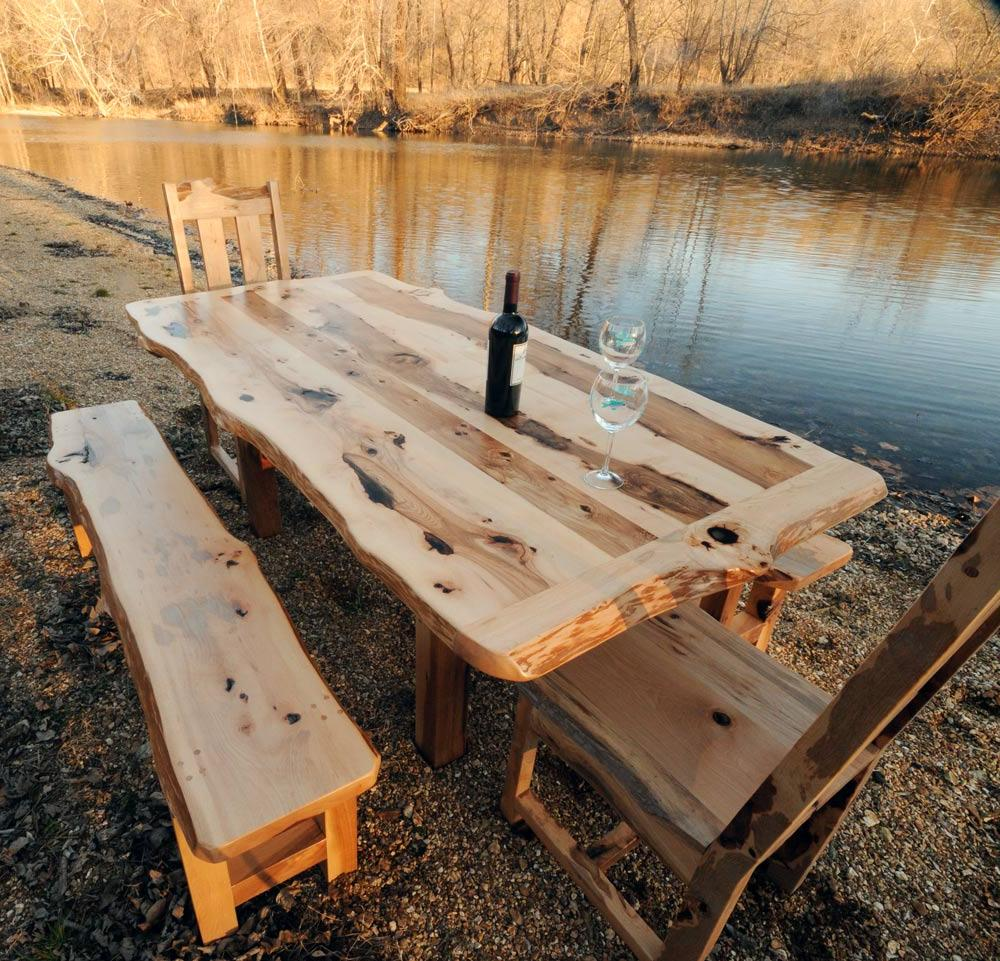 Rustic Outdoor Dining Table Set with Bench