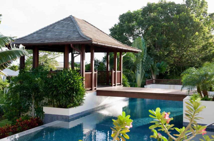 Wooden gazebo, located near the pool