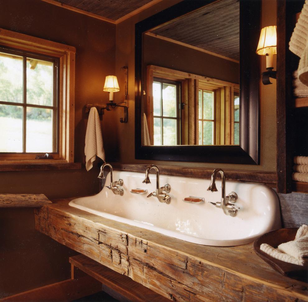 log vanity countertop for rustic bathroom