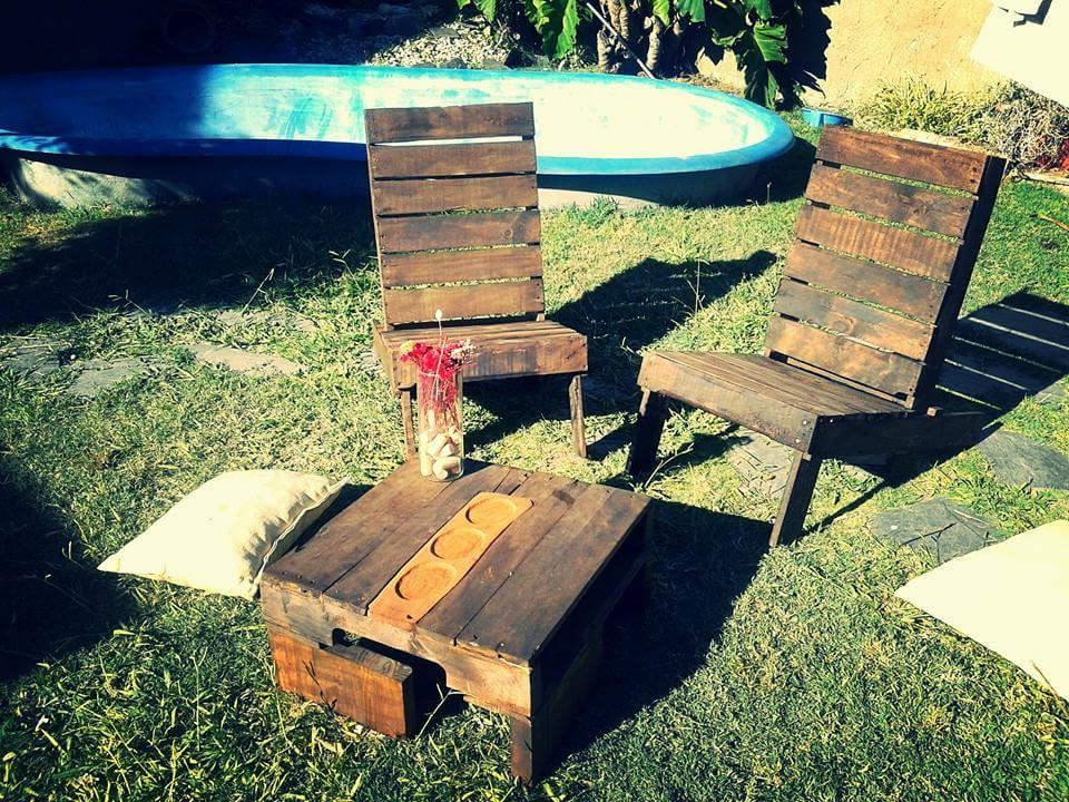 rustic pallet patio fire pit sitting set