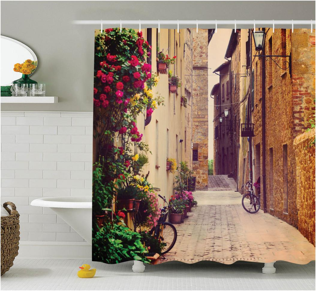rustic shower curtains for trendy bathroom