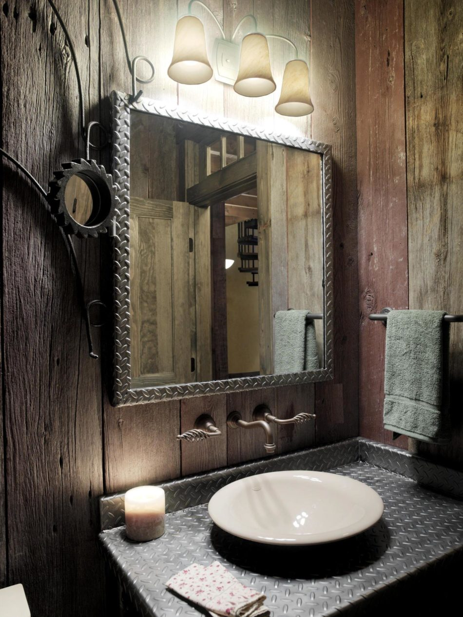 splendid rustic bathrooms ideas for small space designs with iron mirror frames