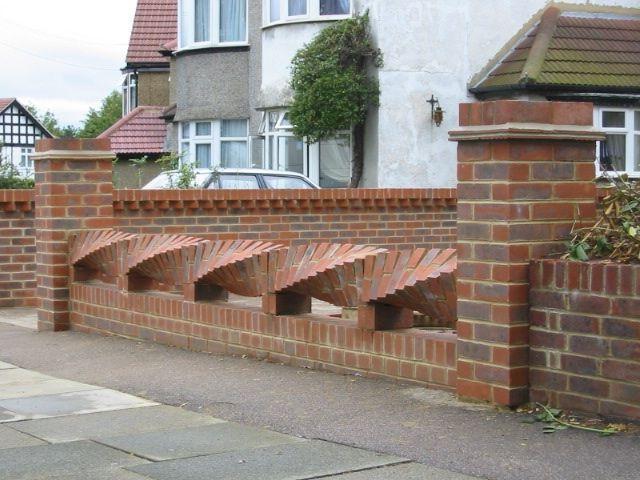 Fence with decorative brickwork