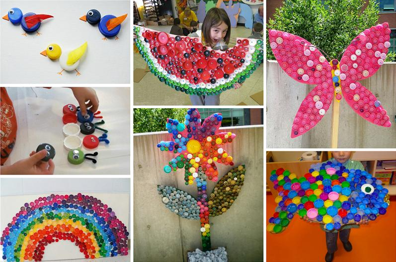 Mosaics and toys from plastic bottle caps