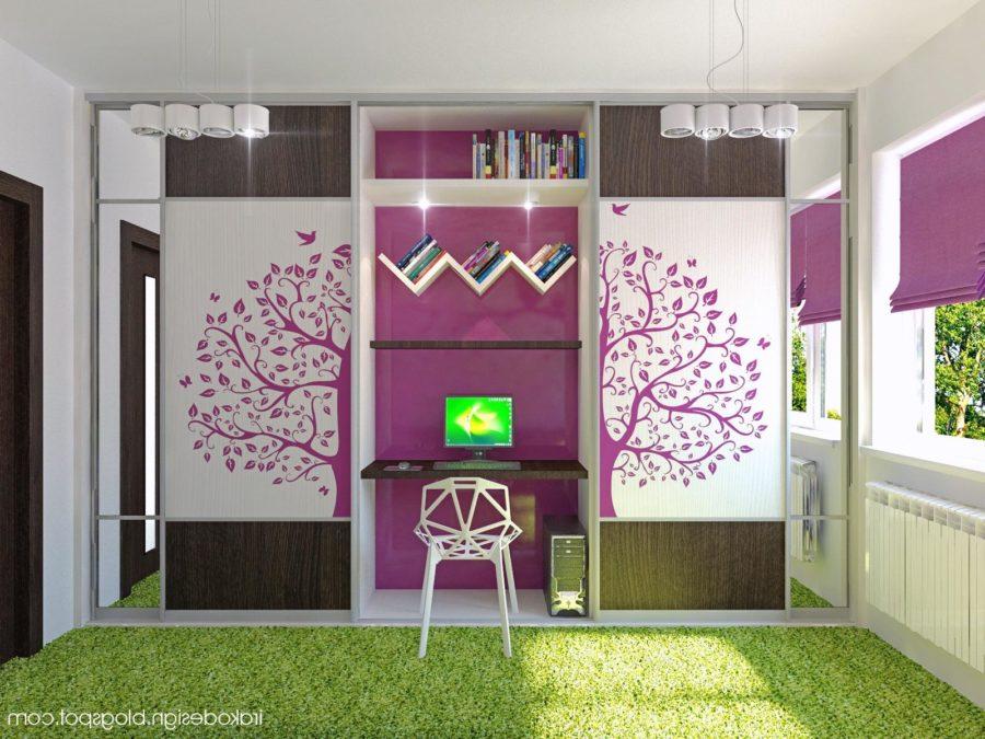 Purple white green girls room