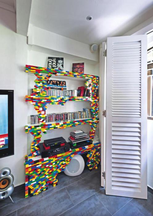 Stylish bookshelf in the style of Lego