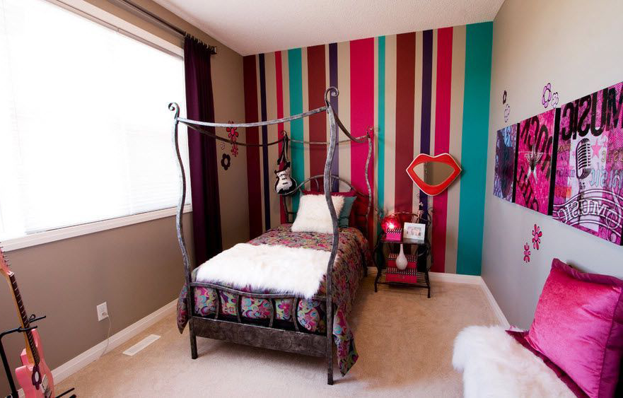 bright bedroom design for teen girl