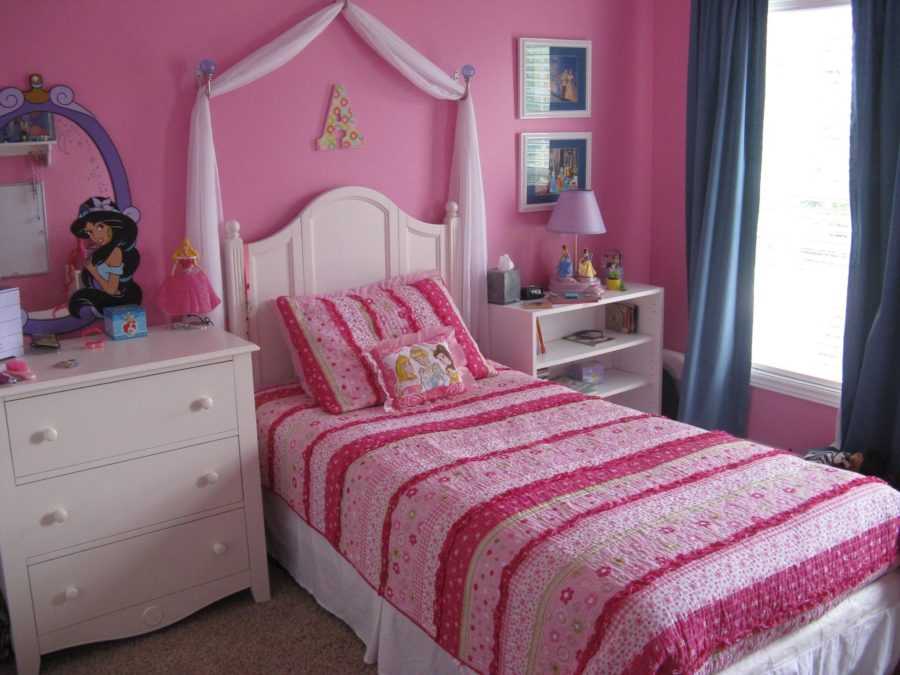 teens pink bedroom makeover ideas with gray carpet floor and white