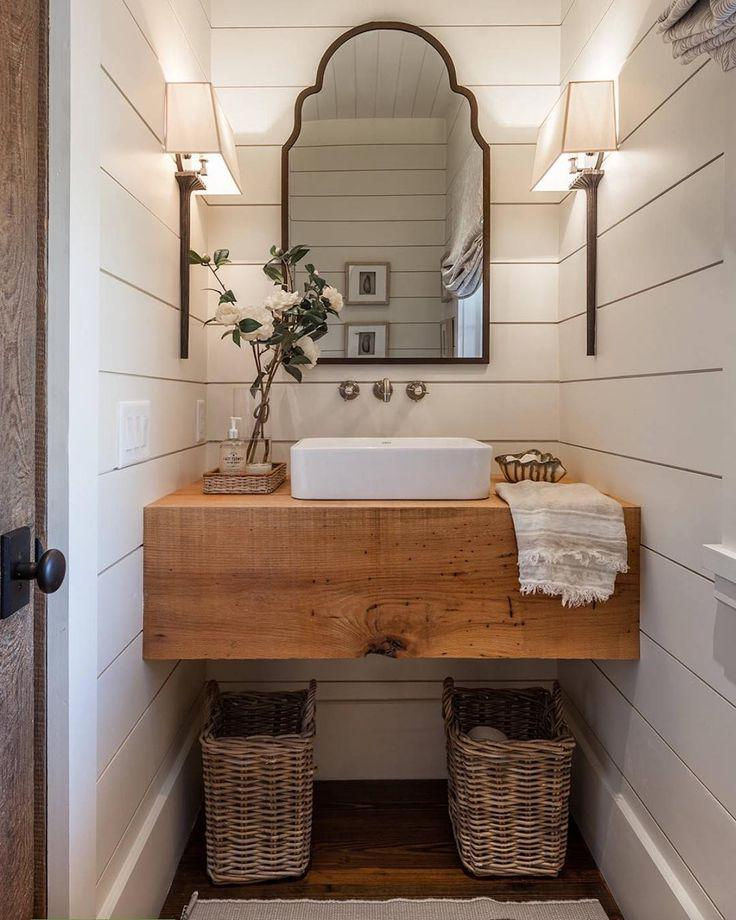 Farmhouse Guest Bathroom Decoration With Wicker Basket