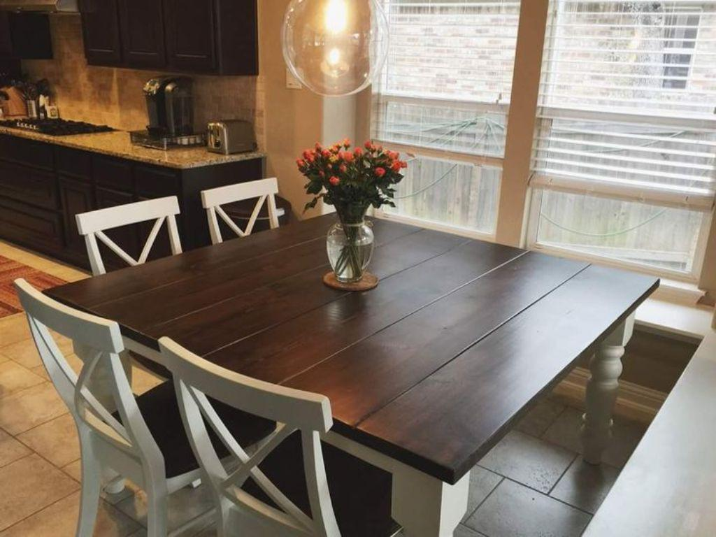 antique farmhouse kitchen table with bench