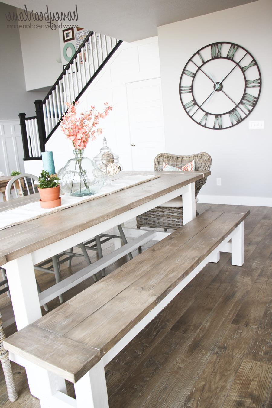 farmhouse table and benches for kitchen