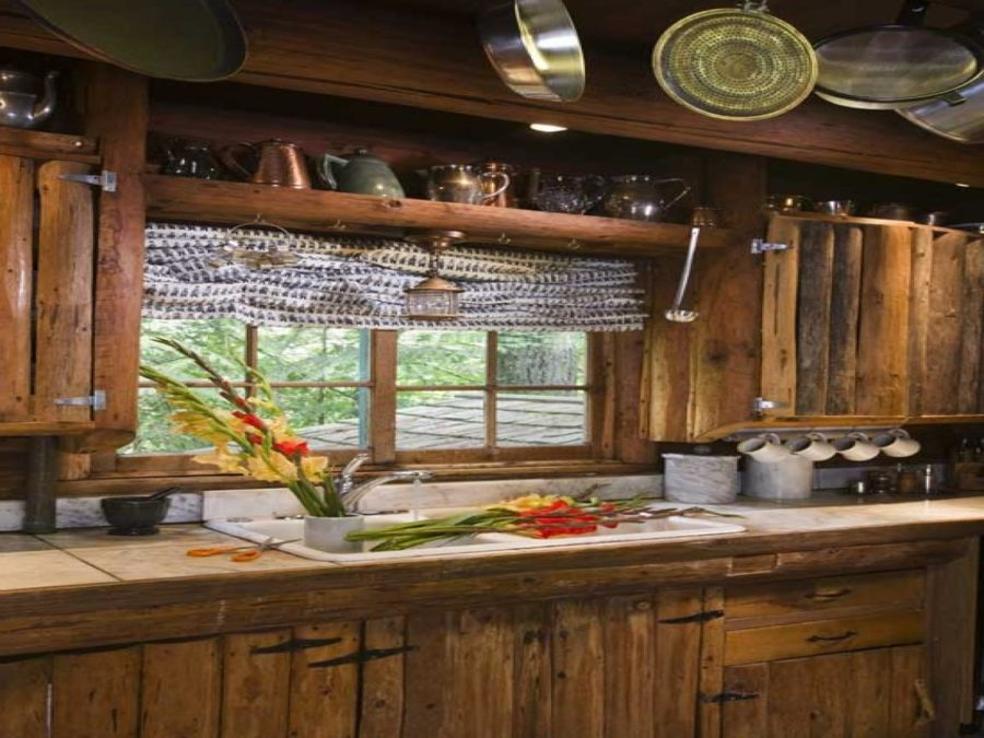 rustic log farmhouse kitchen cabinets