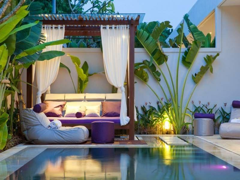 Concrete Backyard Pool Designs In a Small Suburban Area