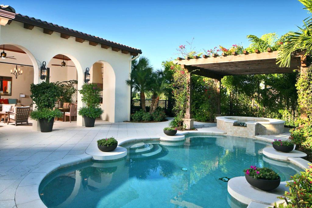 backyard patio designs with pool