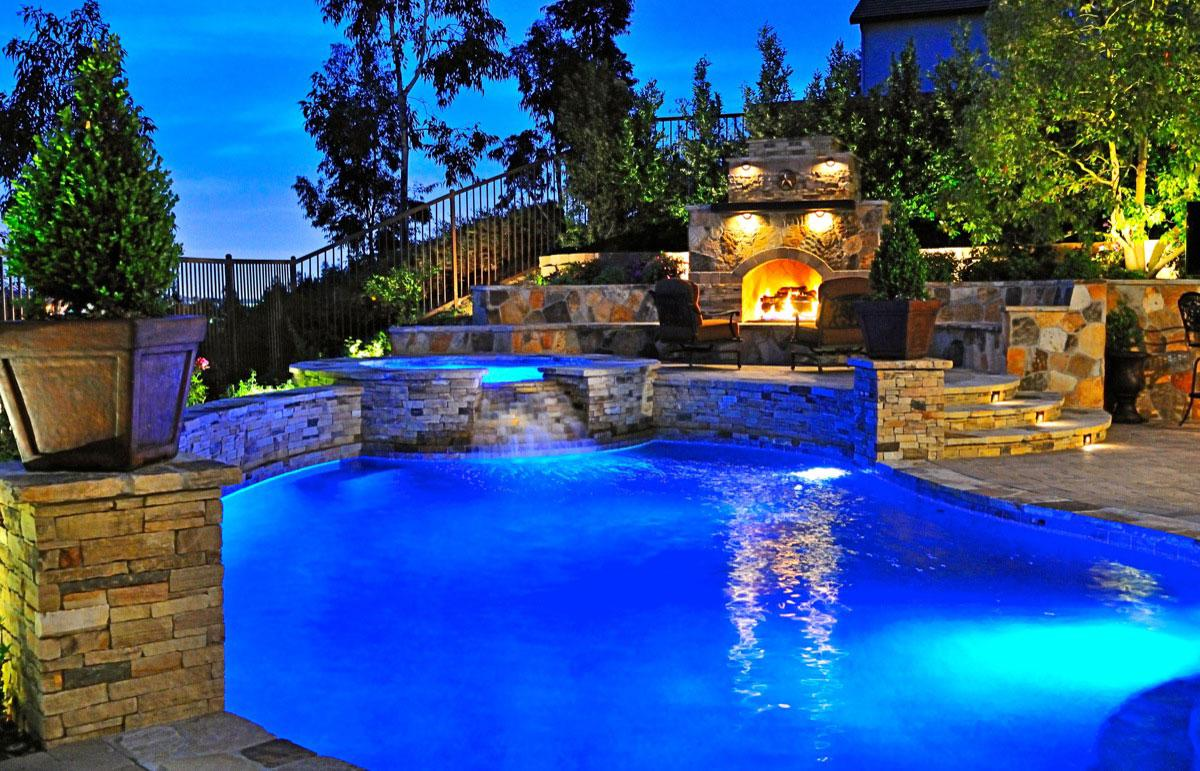 backyard pool and grill designs