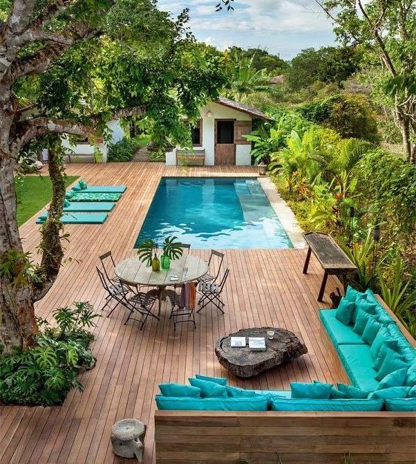 backyard swimming pool deck