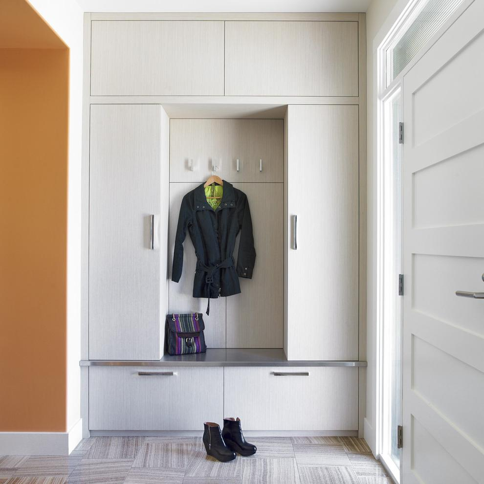Inexpensive Built In Wardrobes With Orange Wall Coat Hooks