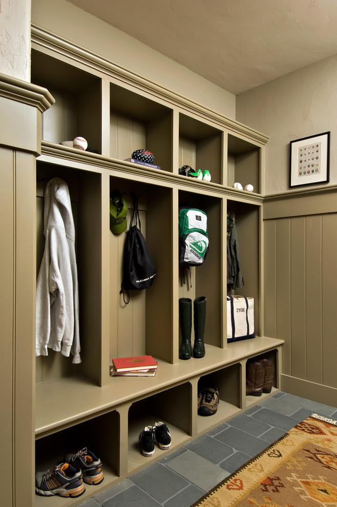 Rustic Built In Closet For Kitchen Entryway
