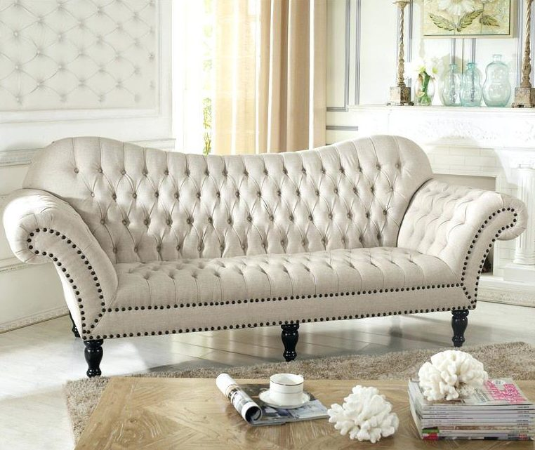 Victorian Style White Sofa For Bedroom