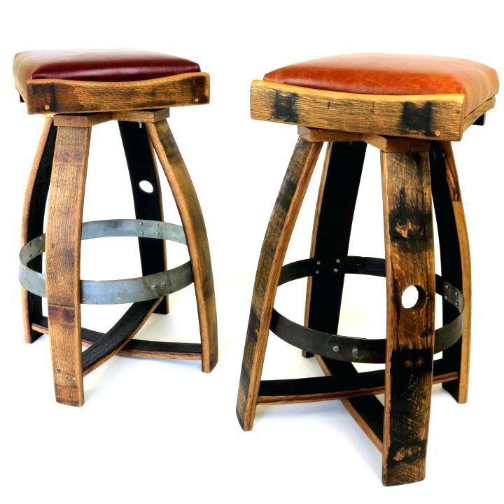 handmade reclaimed wine barrel stool