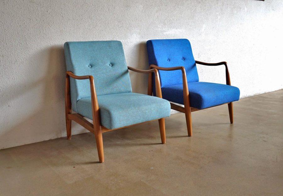 midcentury blue armchairs