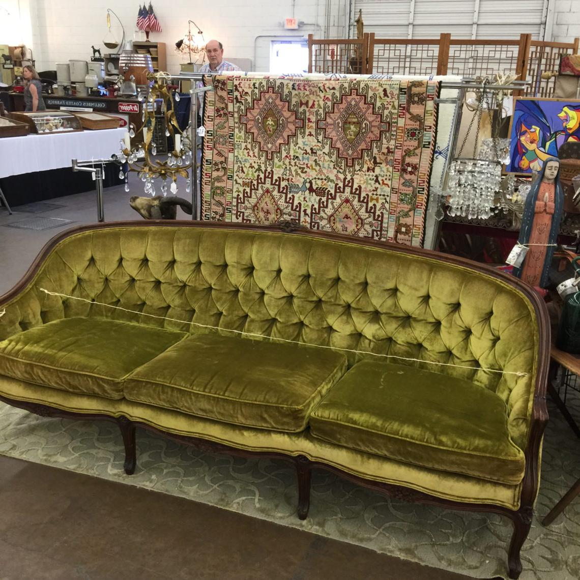 old green sofa