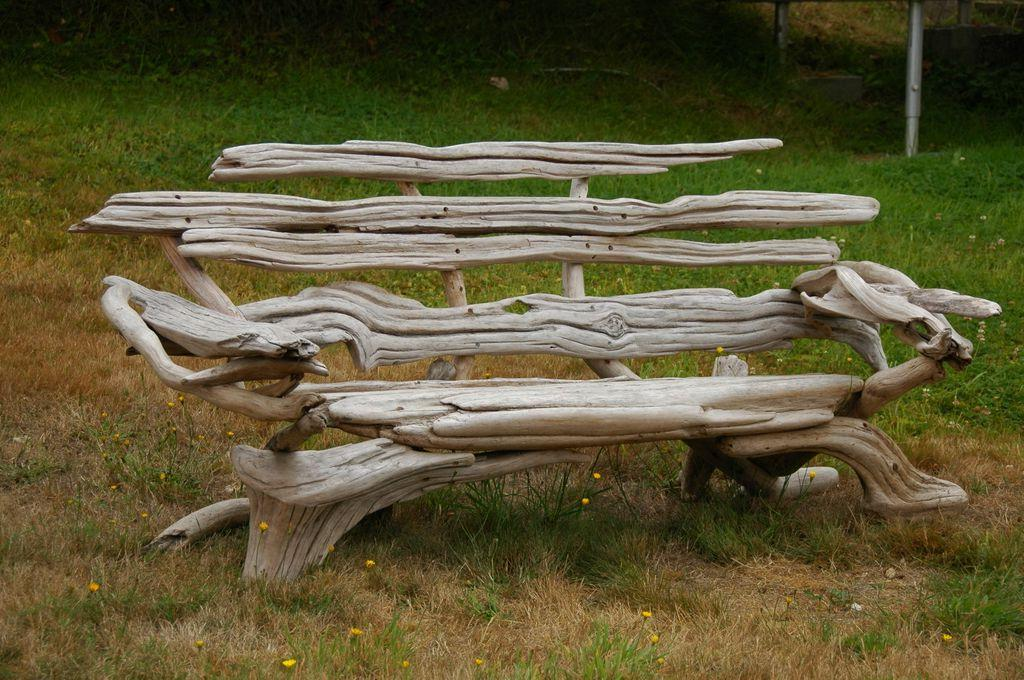 A bench made up of treated snags