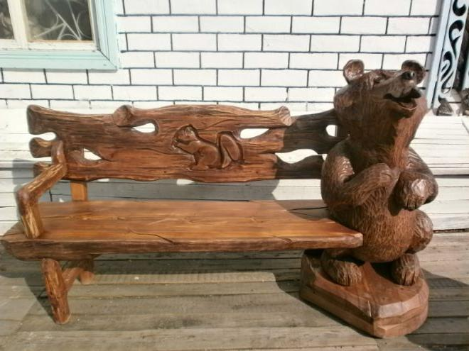 Carved benches made of wood