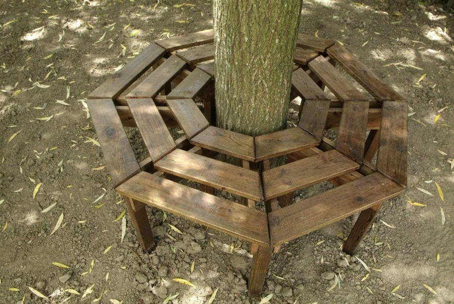 Circular Wooden Benches