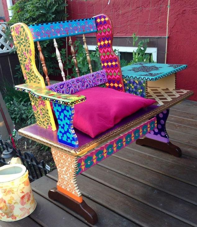 Colorful Painted Wooden Benches