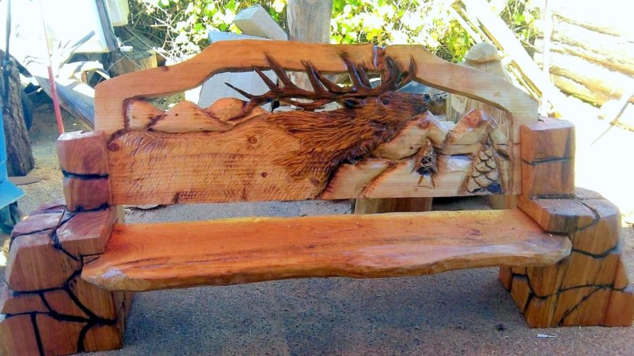 cherry wood carved benches
