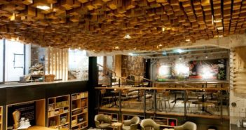wood block ceiling art