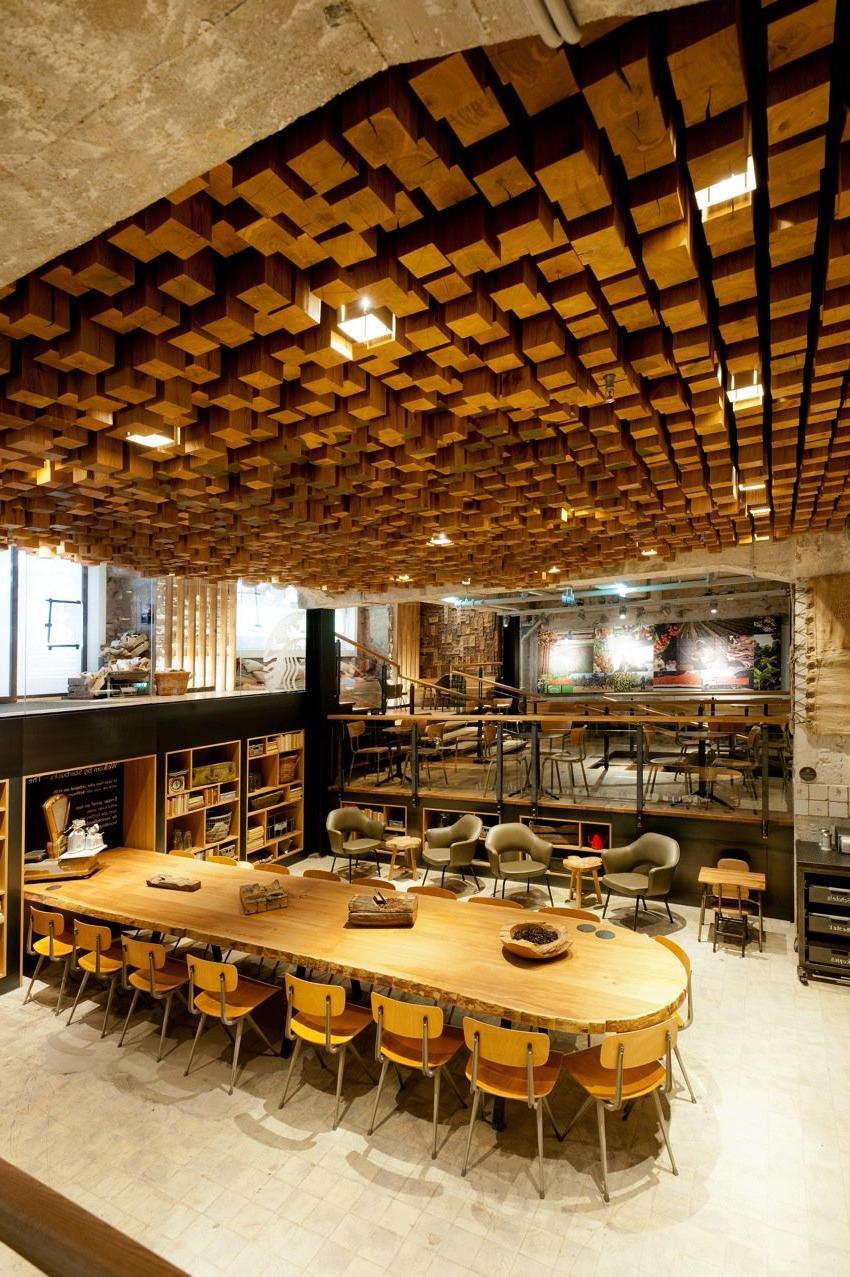 wood block ceiling art