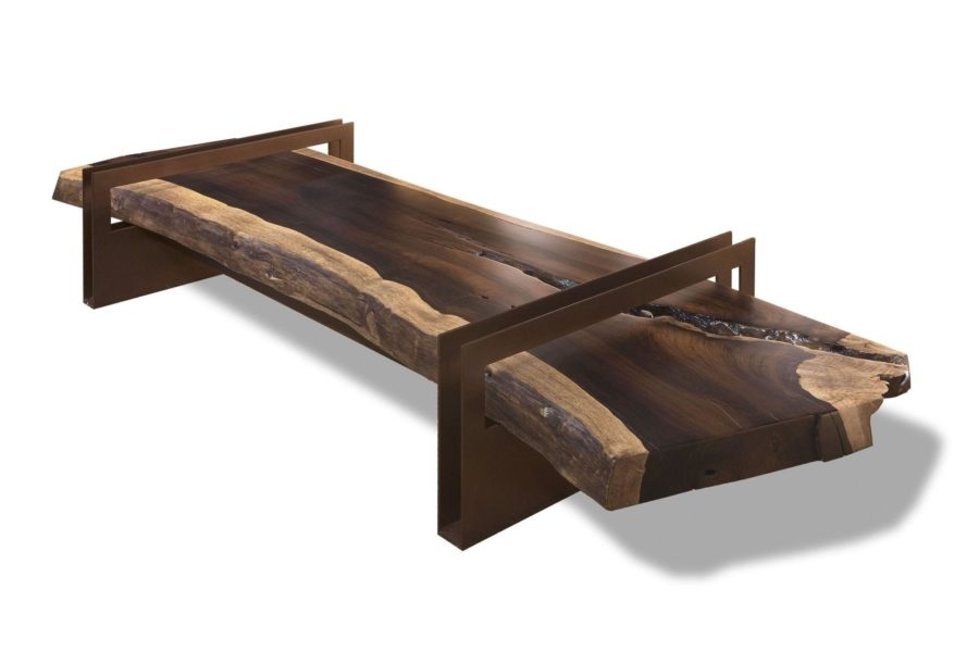 reclaimed wood coffee table with brown steel base frames